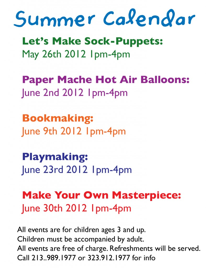 KidsCalendarBack 787x1024 OMG! Kids Summer Art Sessions for Free!!!