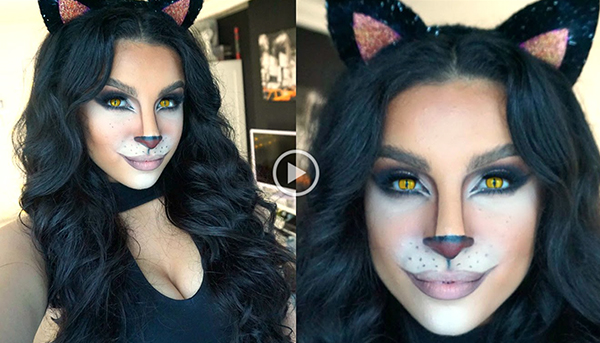 feline glam Halloween Cat Makeup Tutorial—Meow!