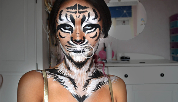 tiger Halloween Cat Makeup Tutorial—Meow!